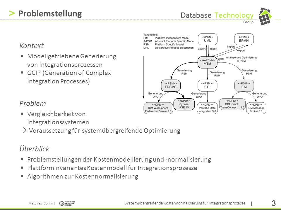 Matthias Böhm | Systemübergreifende Kostennormalisierung für Integrationsprozesse | 24 > Invoke o 3 Selection o 4 Anwendungsszenario (3) Beispiel Systemtypdiagramme (FDBMS, ETL) Plan- diagramm x= VP1 y= VP3 Kosten- diagramm x= VP1 y= VP3 z=t e (P) Invoke o 3 Fork o 1 Assign o 5 Assign o 2 Selection o 4 Join o 8 Assign o 9 Invoke o 10 Invoke o 6 Selection o 7 VP1: ds out (o 3 ) VP3: ds out (o 4 )/ ds in (o 4 )