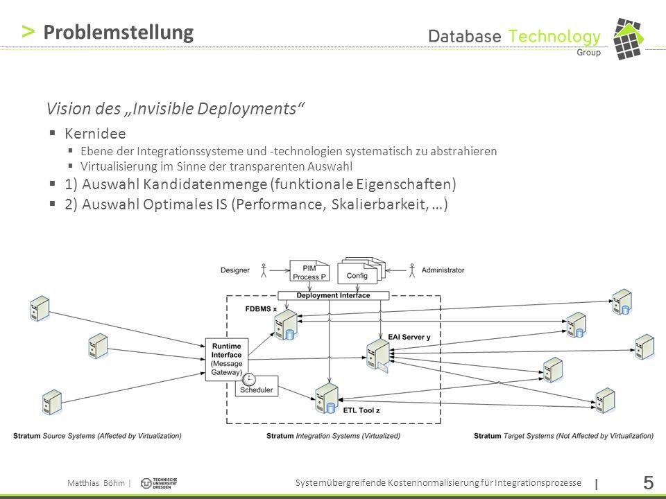 Matthias Böhm | Systemübergreifende Kostennormalisierung für Integrationsprozesse | 6 > Herausforderungen Parallelität Einbeziehung Parallelität von Prozess- und Operatorinstanzen Ressourcenverwendung Effektive (R e (o i )) und maximale Ressourcenverwendung (R o (o i )) Unterschiedliche Hardware Heterogene Hardware erfordert Einbeziehung des Zeitaspekts Unterschiedliche Verarbeitungsmodelle Berücksichtigung von Spezifika wie Sync/Async und Instanz/P&F Semantik erhobener Statistiken Bezug der Statistiken zu gleichen Aufgaben (Operator, Kardinalität) Fehlende Statistiken Inkonsistente Statistiken Statistischer Fehler Hauptproblem der Kostennormalisierung: Die Kostennormalisierung ist per Definition unidirektional, da eine denormalisierte in exakt eine normalisierte Form abgebildet werden kann (jedoch nicht vice versa).
