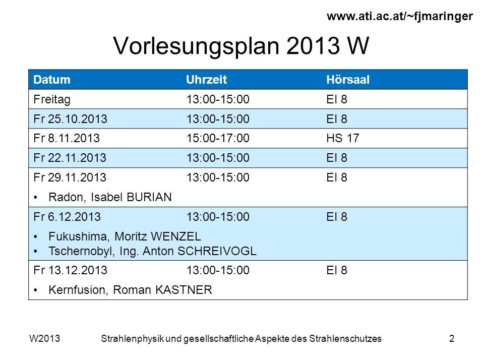 W2013Strahlenphysik und gesellschaftliche Aspekte des Strahlenschutzes2 Vorlesungsplan 2013 W www.ati.ac.at/~fjmaringer DatumUhrzeitHörsaal Freitag13:00-15:00EI 8 Fr 25.10.201313:00-15:00EI 8 Fr 8.11.201315:00-17:00HS 17 Fr 22.11.201313:00-15:00EI 8 Fr 29.11.201313:00-15:00EI 8 Radon, Isabel BURIAN Fr 6.12.201313:00-15:00EI 8 Fukushima, Moritz WENZEL Tschernobyl, Ing.