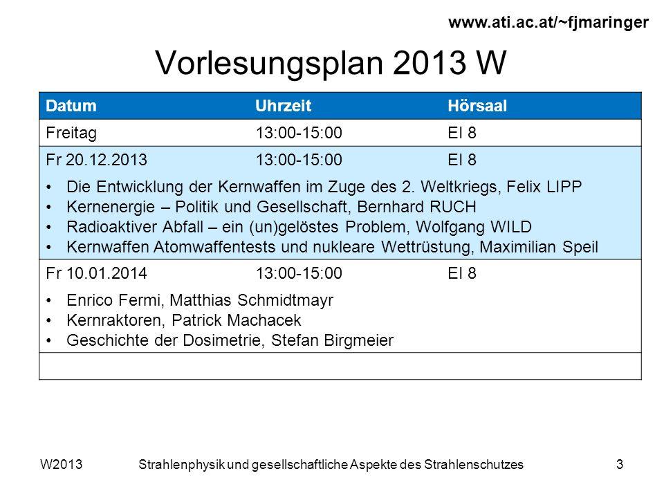 W2013Strahlenphysik und gesellschaftliche Aspekte des Strahlenschutzes3 Vorlesungsplan 2013 W www.ati.ac.at/~fjmaringer DatumUhrzeitHörsaal Freitag13:00-15:00EI 8 Fr 20.12.201313:00-15:00EI 8 Die Entwicklung der Kernwaffen im Zuge des 2.