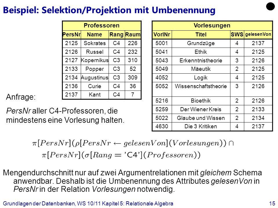 Grundlagen der Datenbanken, WS 10/11 Kapitel 5: Relationale Algebra15 Beispiel: Selektion/Projektion mit Umbenennung Mengendurchschnitt nur auf zwei A