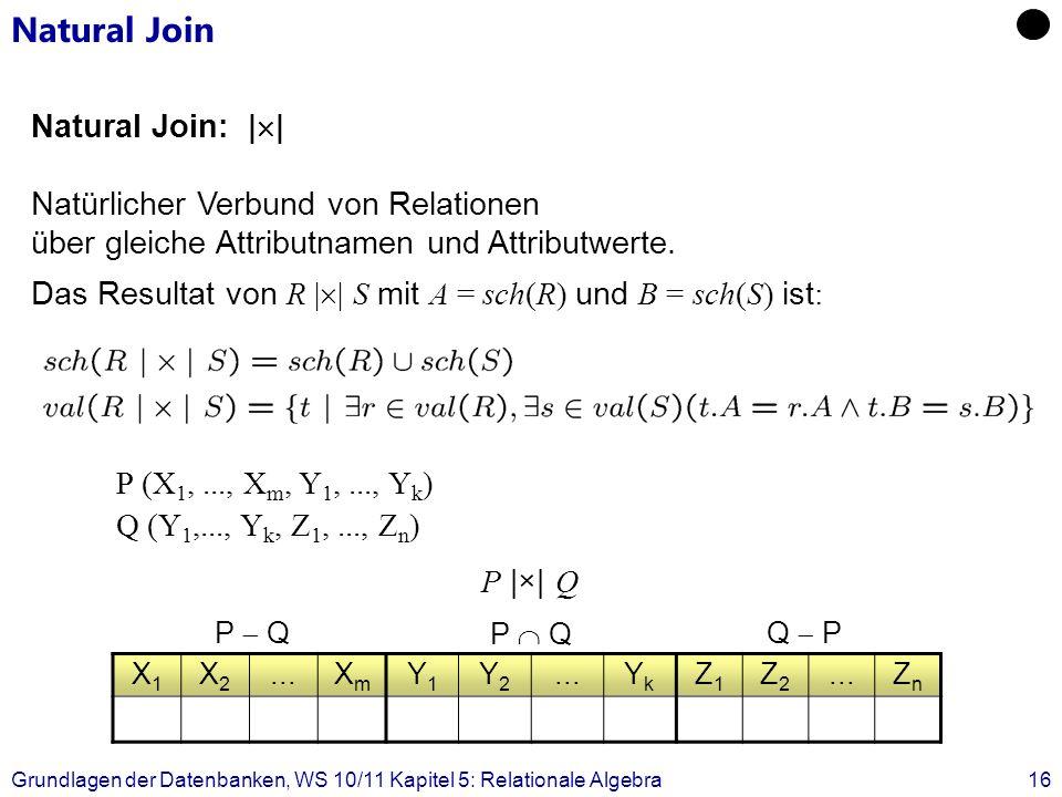 Grundlagen der Datenbanken, WS 10/11 Kapitel 5: Relationale Algebra16 Natural Join Natural Join: | | Natürlicher Verbund von Relationen über gleiche A