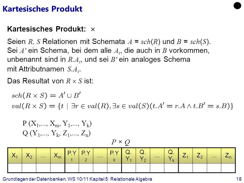 Grundlagen der Datenbanken, WS 10/11 Kapitel 5: Relationale Algebra18 Kartesisches Produkt Kartesisches Produkt: Seien R, S Relationen mit Schemata A