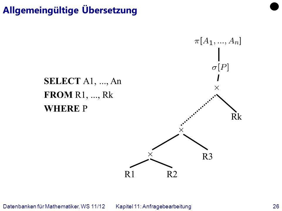 Datenbanken für Mathematiker, WS 11/12Kapitel 11: Anfragebearbeitung26 Allgemeingültige Übersetzung SELECT A1,..., An FROM R1,..., Rk WHERE P R1R2 R3