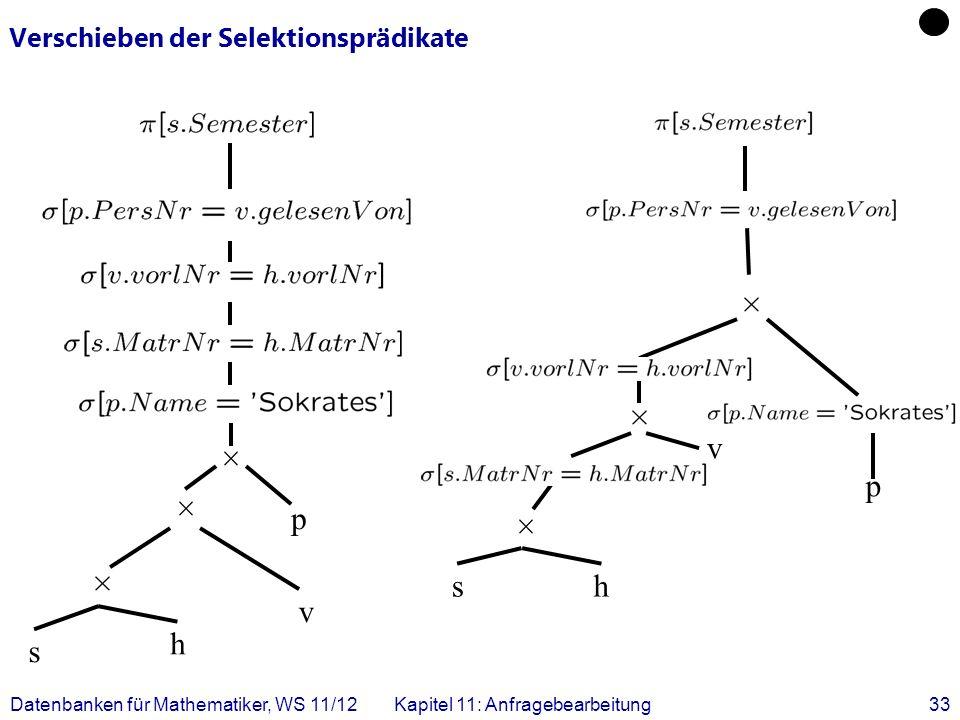 Datenbanken für Mathematiker, WS 11/12Kapitel 11: Anfragebearbeitung33 Verschieben der Selektionsprädikate sh v p s h v p