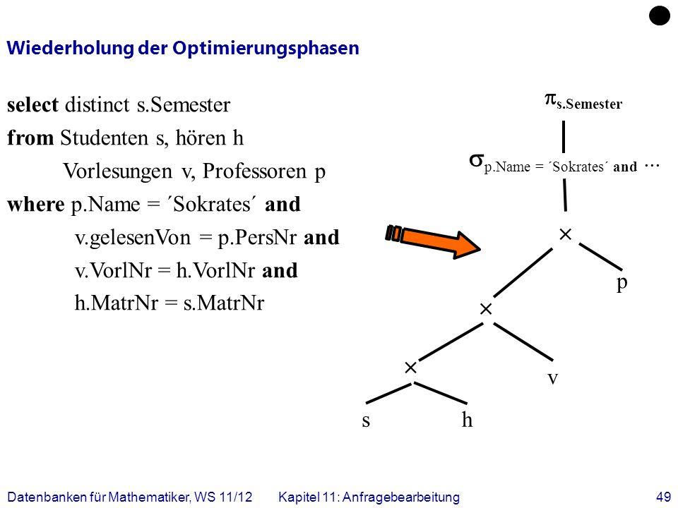 Datenbanken für Mathematiker, WS 11/12Kapitel 11: Anfragebearbeitung49 Wiederholung der Optimierungsphasen select distinct s.Semester from Studenten s