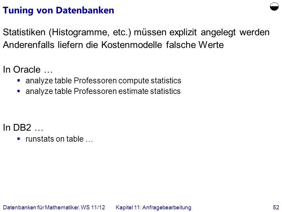 Datenbanken für Mathematiker, WS 11/12Kapitel 11: Anfragebearbeitung52 Tuning von Datenbanken Statistiken (Histogramme, etc.) müssen explizit angelegt