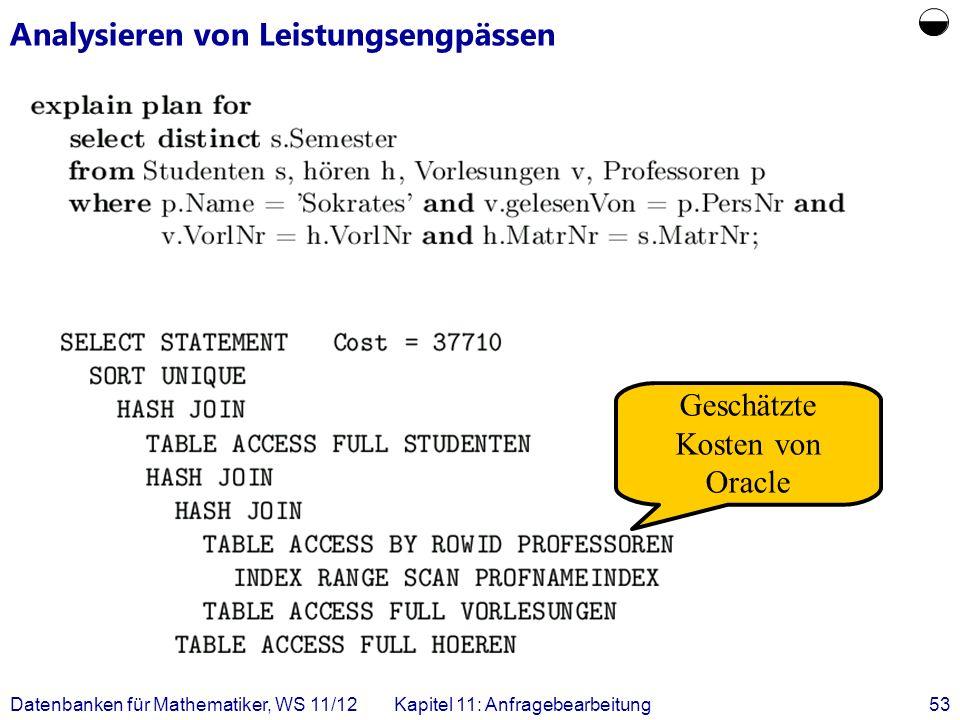 Datenbanken für Mathematiker, WS 11/12Kapitel 11: Anfragebearbeitung53 Analysieren von Leistungsengpässen Geschätzte Kosten von Oracle
