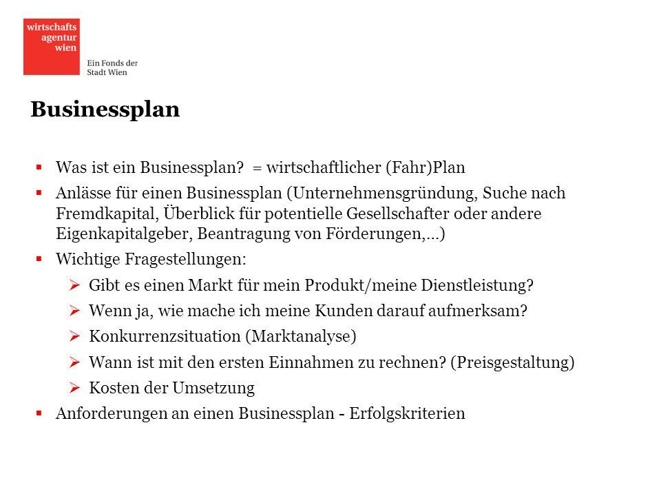 Businessplan Was ist ein Businessplan? = wirtschaftlicher (Fahr)Plan Anlässe für einen Businessplan (Unternehmensgründung, Suche nach Fremdkapital, Üb
