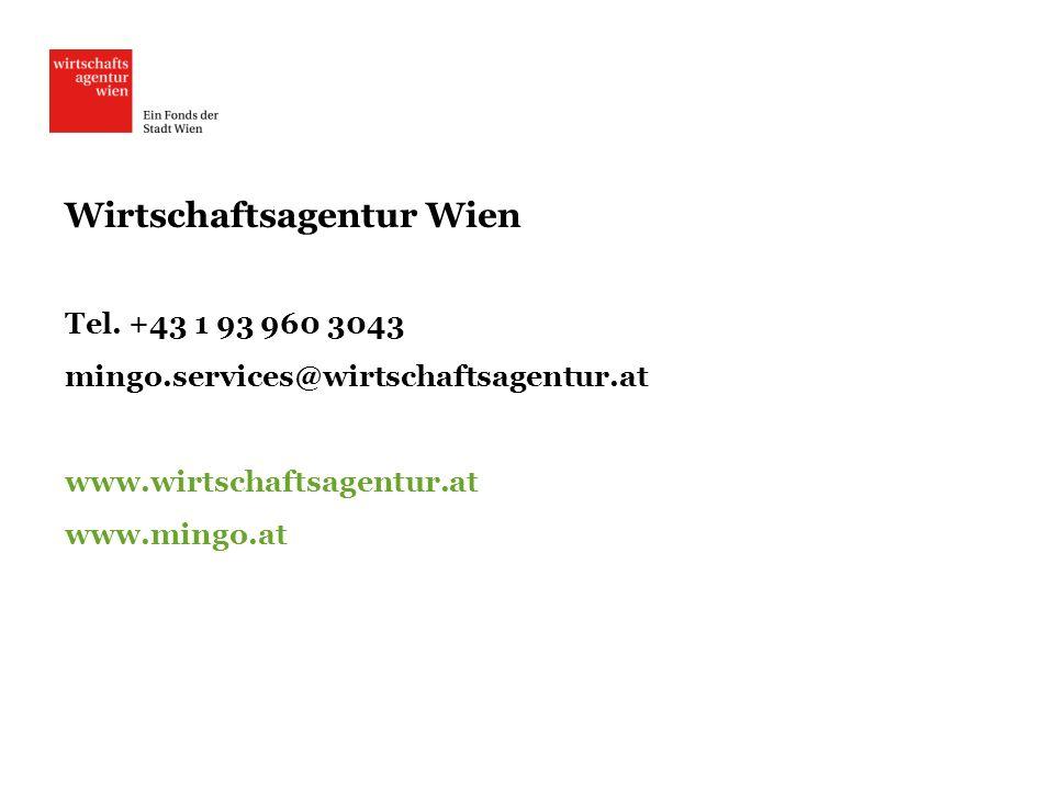 Wirtschaftsagentur Wien Tel. +43 1 93 960 3043 mingo.services@wirtschaftsagentur.at www.wirtschaftsagentur.at www.mingo.at