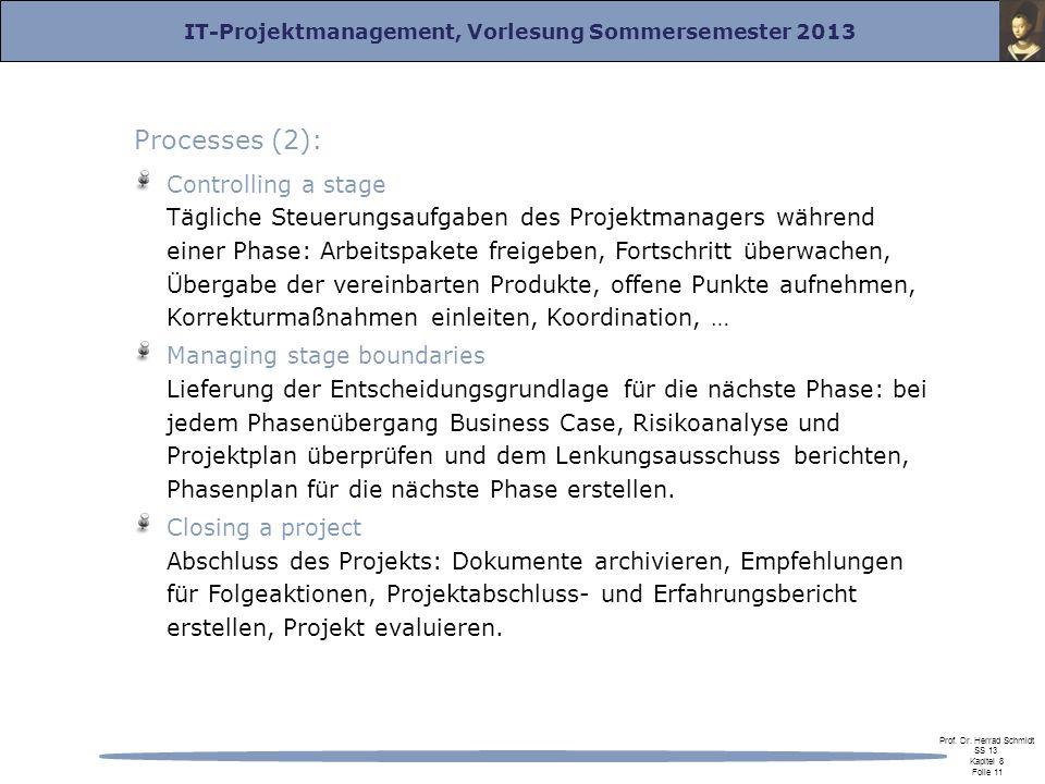 IT-Projektmanagement, Vorlesung Sommersemester 2013 Prof. Dr. Herrad Schmidt SS 13 Kapitel 8 Folie 11 Processes (2): Controlling a stage Tägliche Steu