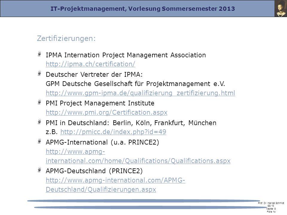 IT-Projektmanagement, Vorlesung Sommersemester 2013 Prof. Dr. Herrad Schmidt SS 13 Kapitel 8 Folie 14 Zertifizierungen: IPMA Internation Project Manag