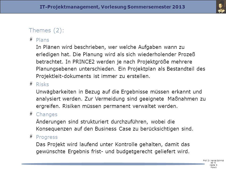 IT-Projektmanagement, Vorlesung Sommersemester 2013 Prof. Dr. Herrad Schmidt SS 13 Kapitel 8 Folie 8 Themes (2): Plans In Plänen wird beschrieben, wer