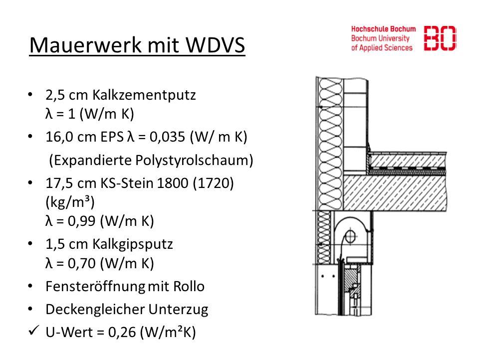 Mauerwerk mit WDVS 2,5 cm Kalkzementputz λ = 1 (W/m K) 16,0 cm EPS λ = 0,035 (W/ m K) (Expandierte Polystyrolschaum) 17,5 cm KS-Stein 1800 (1720) (kg/