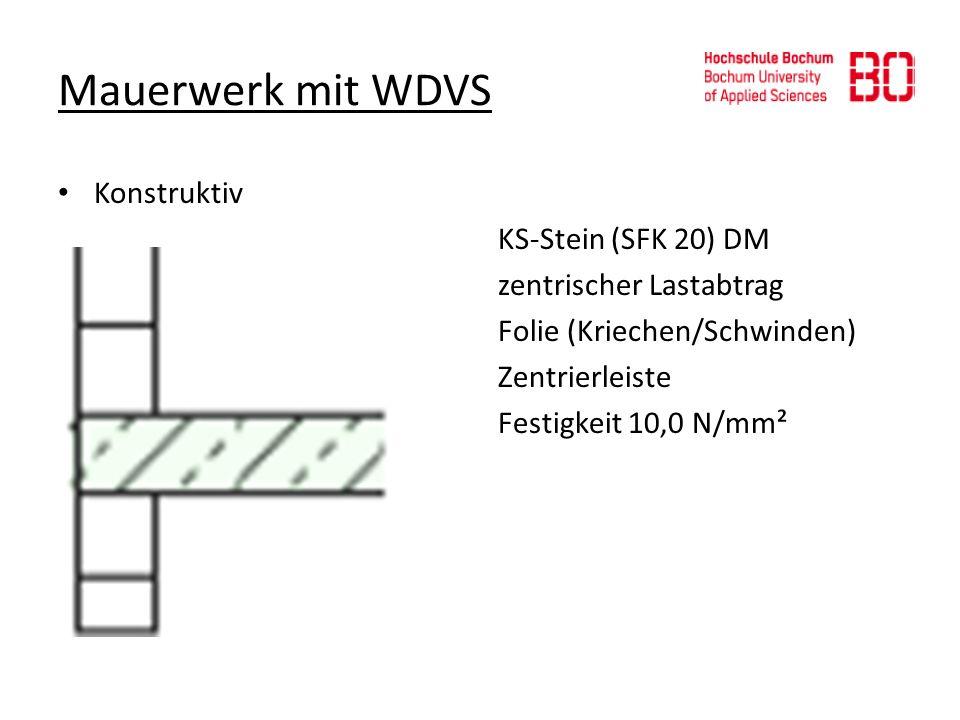 Mauerwerk mit WDVS Konstruktiv KS-Stein (SFK 20) DM zentrischer Lastabtrag Folie (Kriechen/Schwinden) Zentrierleiste Festigkeit 10,0 N/mm²
