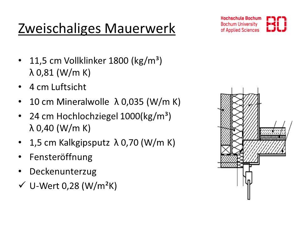 Zweischaliges Mauerwerk 11,5 cm Vollklinker 1800 (kg/m³) λ 0,81 (W/m K) 4 cm Luftsicht 10 cm Mineralwolle λ 0,035 (W/m K) 24 cm Hochlochziegel 1000(kg