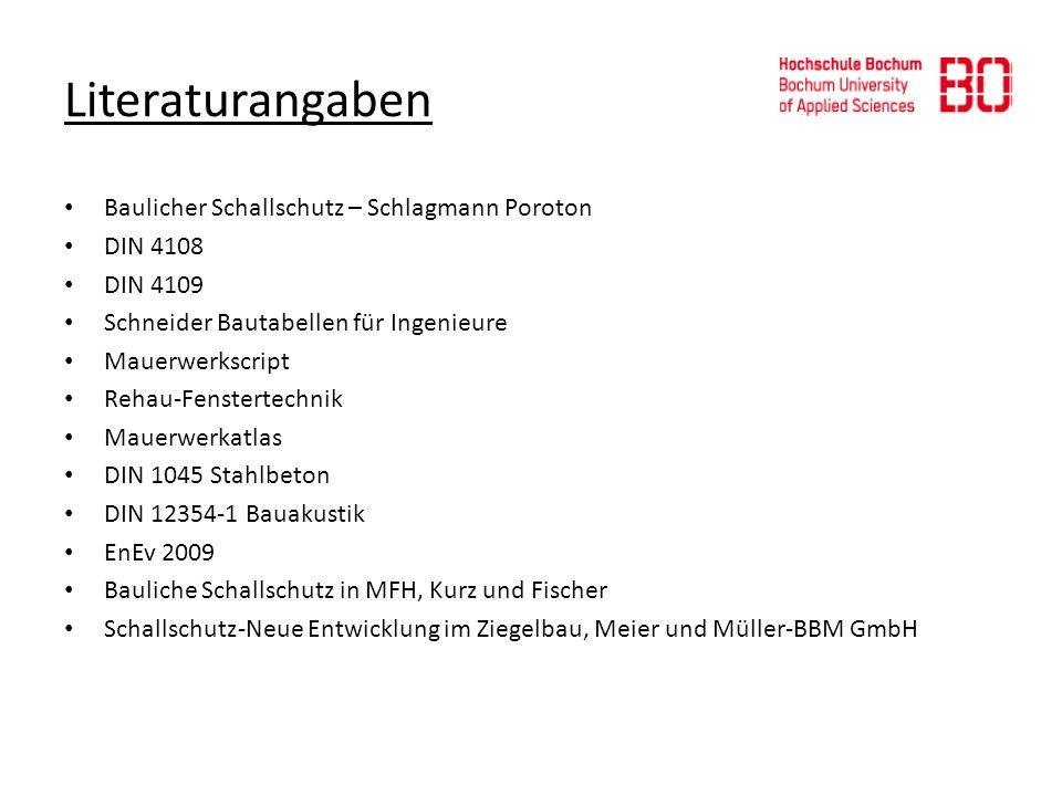 Literaturangaben Baulicher Schallschutz – Schlagmann Poroton DIN 4108 DIN 4109 Schneider Bautabellen für Ingenieure Mauerwerkscript Rehau-Fenstertechn