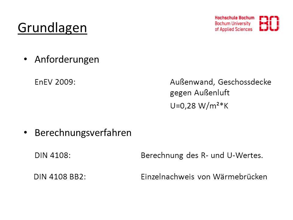 Grundlagen Anforderungen EnEV 2009:Außenwand, Geschossdecke gegen Außenluft U=0,28 W/m²*K Berechnungsverfahren DIN 4108: Berechnung des R- und U-Werte