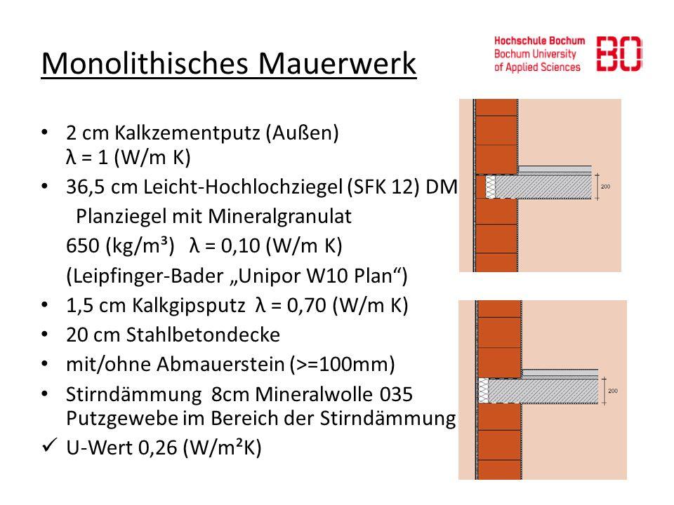 Monolithisches Mauerwerk 2 cm Kalkzementputz (Außen) λ = 1 (W/m K) 36,5 cm Leicht-Hochlochziegel (SFK 12) DM Planziegel mit Mineralgranulat 650 (kg/m³