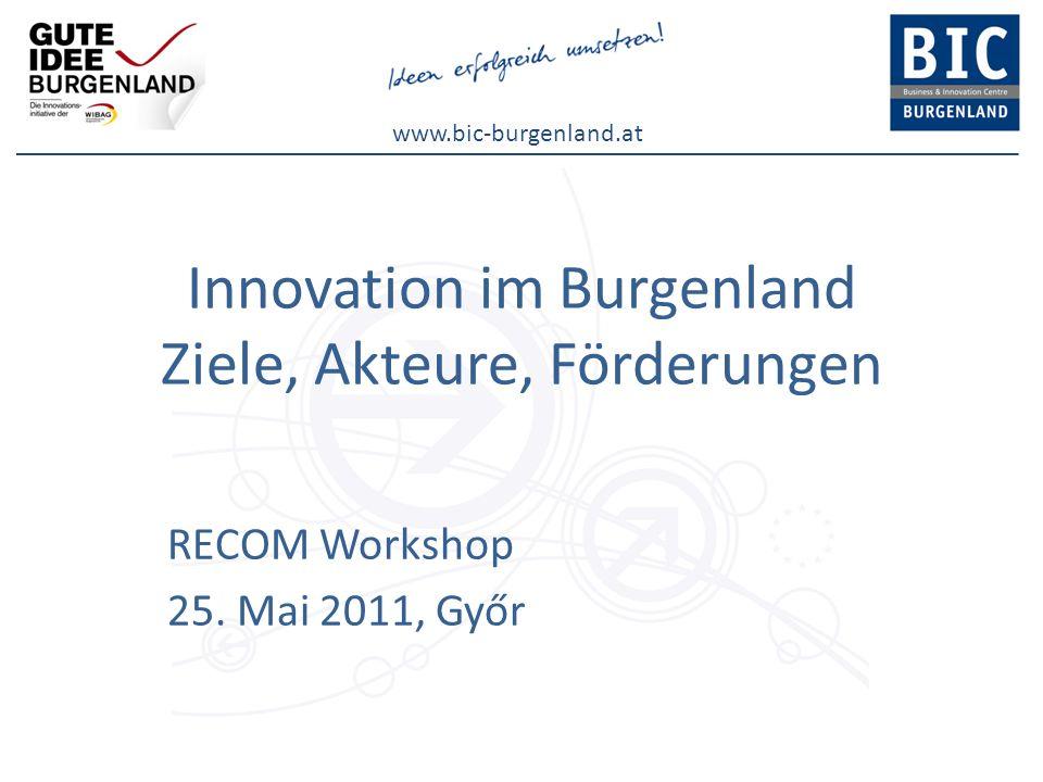 www.bic-burgenland.at Unterstützung durch EU ETZ Projekte IRIS / Interregionales Innovationssystem (AT-HU) 9 Partner aus Burgenland / Steiermark / West-Ungarn Thema: Interregionale Innovationssysteme stärken Schwerpunkte: -Business ideas -Kompetenzfeldanalysen -Cluster -Standortkonzepte