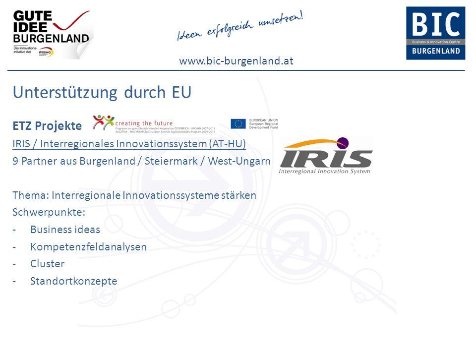 www.bic-burgenland.at Unterstützung durch EU ETZ Projekte IRIS / Interregionales Innovationssystem (AT-HU) 9 Partner aus Burgenland / Steiermark / Wes