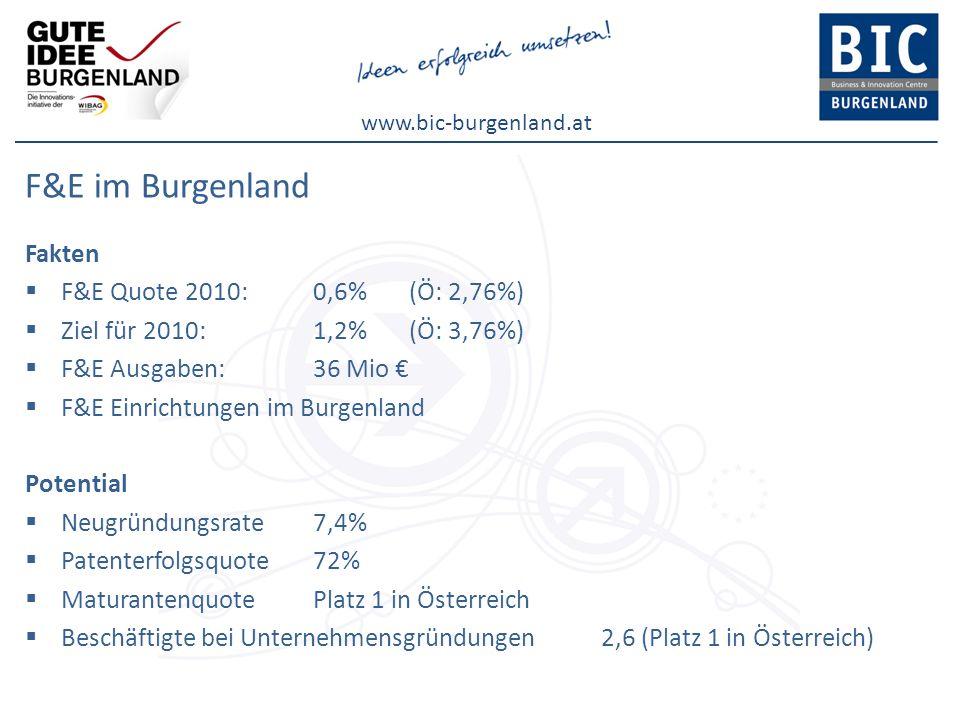 www.bic-burgenland.at F&E im Burgenland Fakten F&E Quote 2010: 0,6%(Ö: 2,76%) Ziel für 2010: 1,2%(Ö: 3,76%) F&E Ausgaben: 36 Mio F&E Einrichtungen im