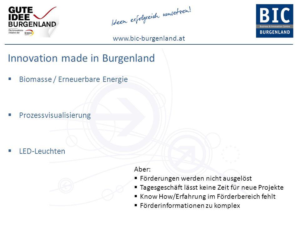 www.bic-burgenland.at Innovation made in Burgenland Biomasse / Erneuerbare Energie Prozessvisualisierung LED-Leuchten Aber: Förderungen werden nicht a