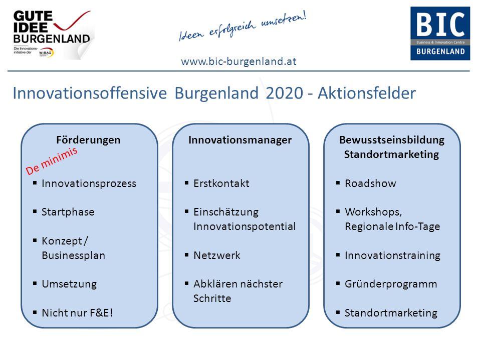 www.bic-burgenland.at Innovationsoffensive Burgenland 2020 - Aktionsfelder Förderungen Innovationsprozess Startphase Konzept / Businessplan Umsetzung