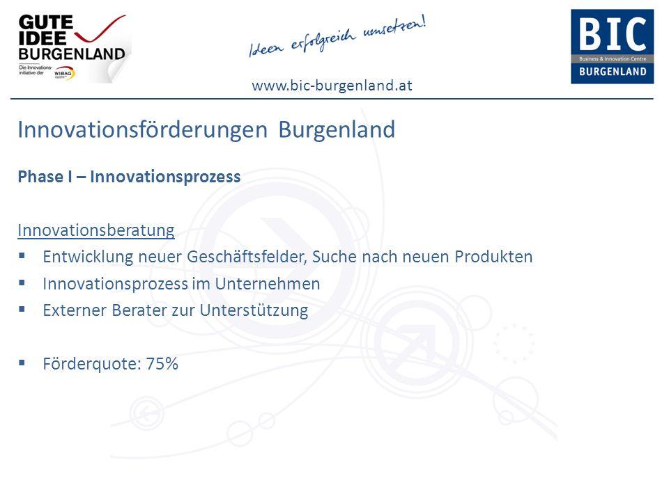 www.bic-burgenland.at Innovationsförderungen Burgenland Phase I – Innovationsprozess Innovationsberatung Entwicklung neuer Geschäftsfelder, Suche nach