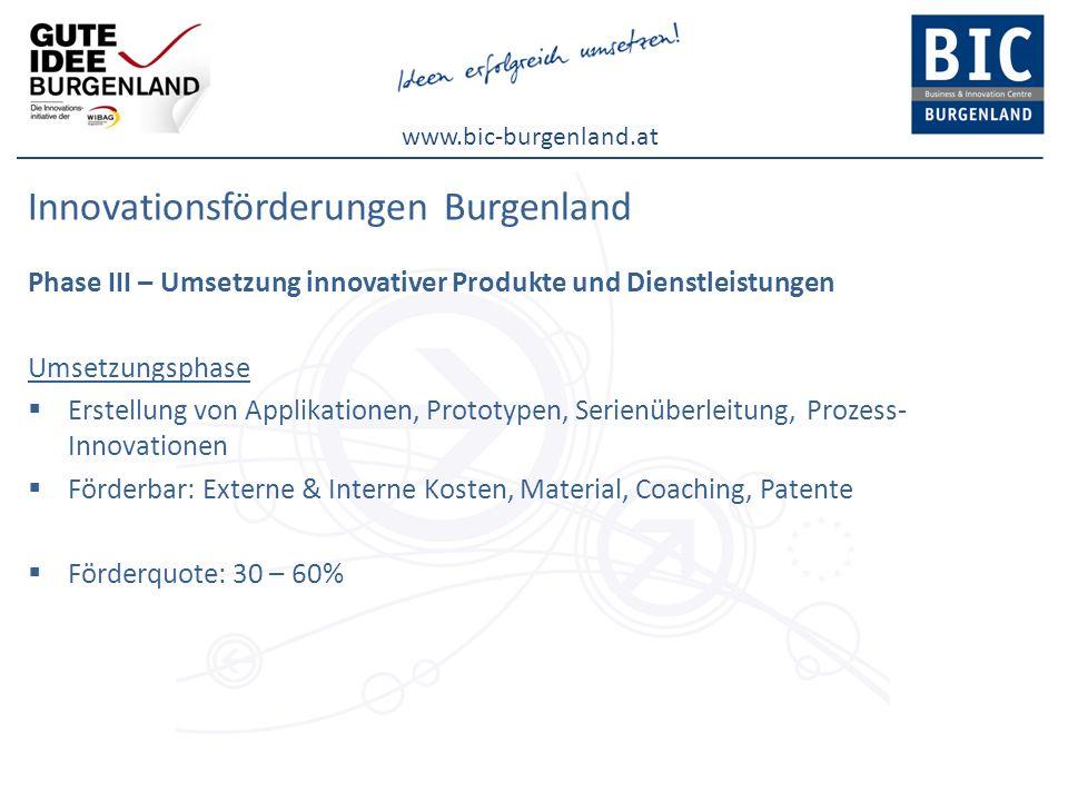www.bic-burgenland.at Innovationsförderungen Burgenland Phase III – Umsetzung innovativer Produkte und Dienstleistungen Umsetzungsphase Erstellung von