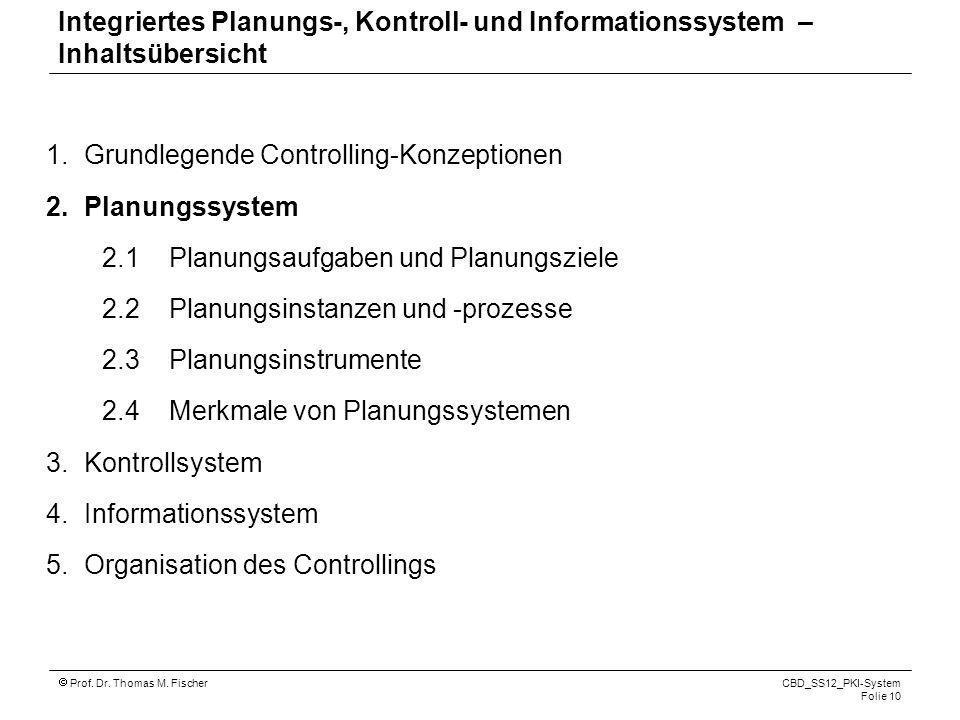 Prof. Dr. Thomas M. Fischer CBD_SS12_PKI-System Folie 10 1.Grundlegende Controlling-Konzeptionen 2.Planungssystem 2.1 Planungsaufgaben und Planungszie
