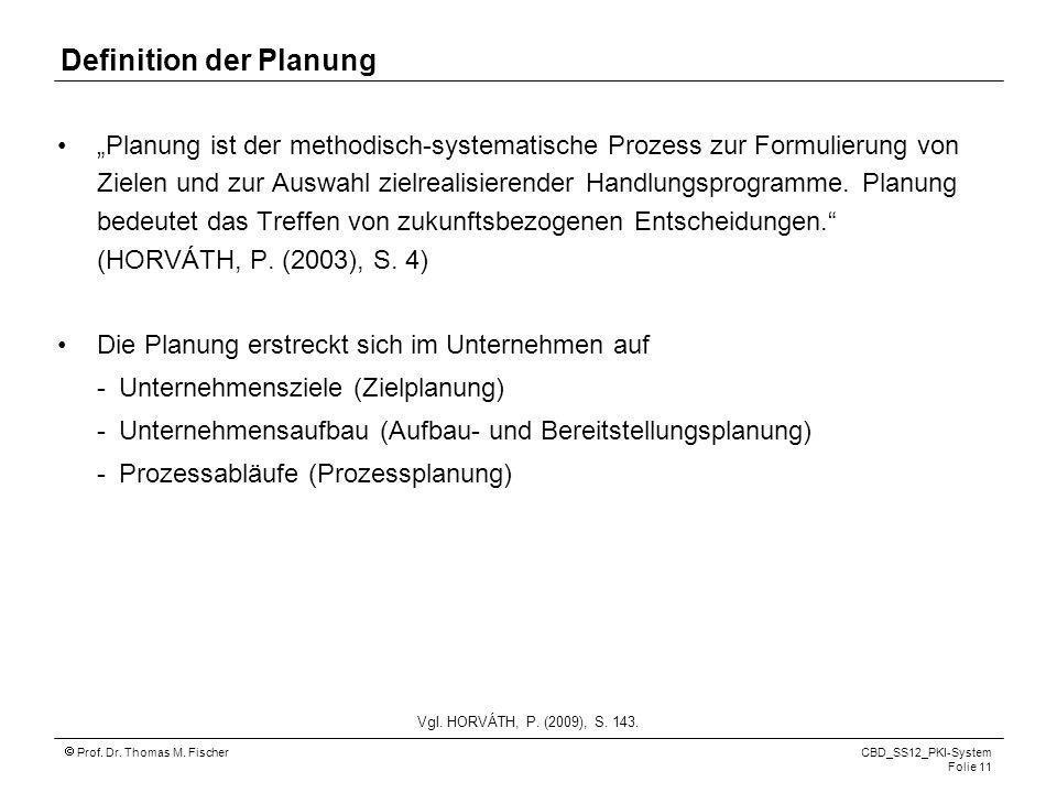 Prof. Dr. Thomas M. Fischer CBD_SS12_PKI-System Folie 11 Definition der Planung Planung ist der methodisch-systematische Prozess zur Formulierung von