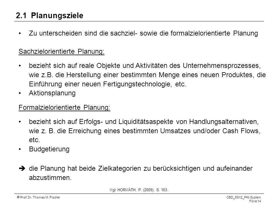 Prof. Dr. Thomas M. Fischer CBD_SS12_PKI-System Folie 14 Zu unterscheiden sind die sachziel- sowie die formalzielorientierte Planung Sachzielorientier