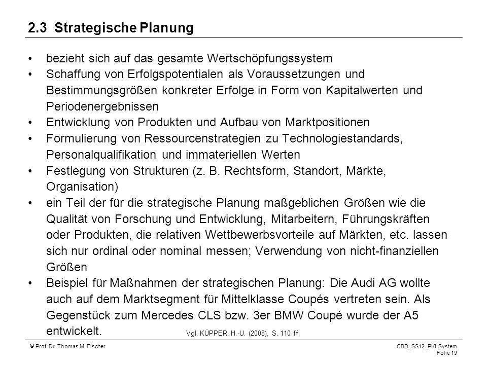Prof. Dr. Thomas M. Fischer CBD_SS12_PKI-System Folie 19 2.3 Strategische Planung bezieht sich auf das gesamte Wertschöpfungssystem Schaffung von Erfo