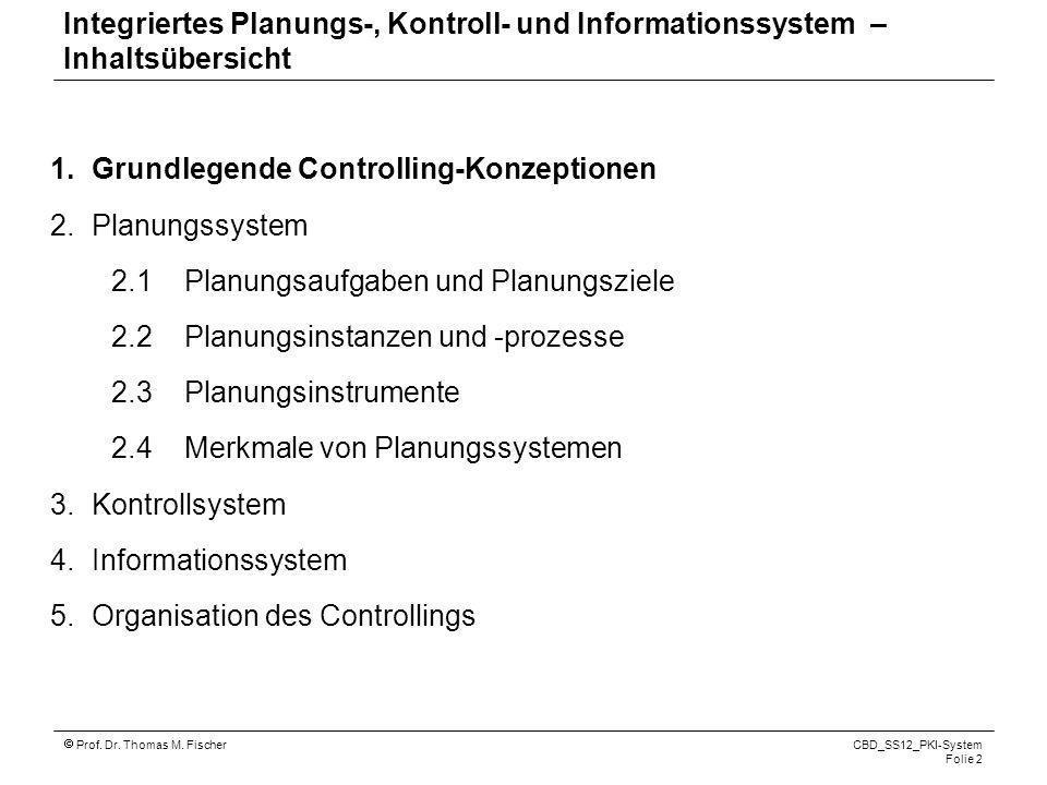 Prof. Dr. Thomas M. Fischer CBD_SS12_PKI-System Folie 2 1.Grundlegende Controlling-Konzeptionen 2.Planungssystem 2.1 Planungsaufgaben und Planungsziel