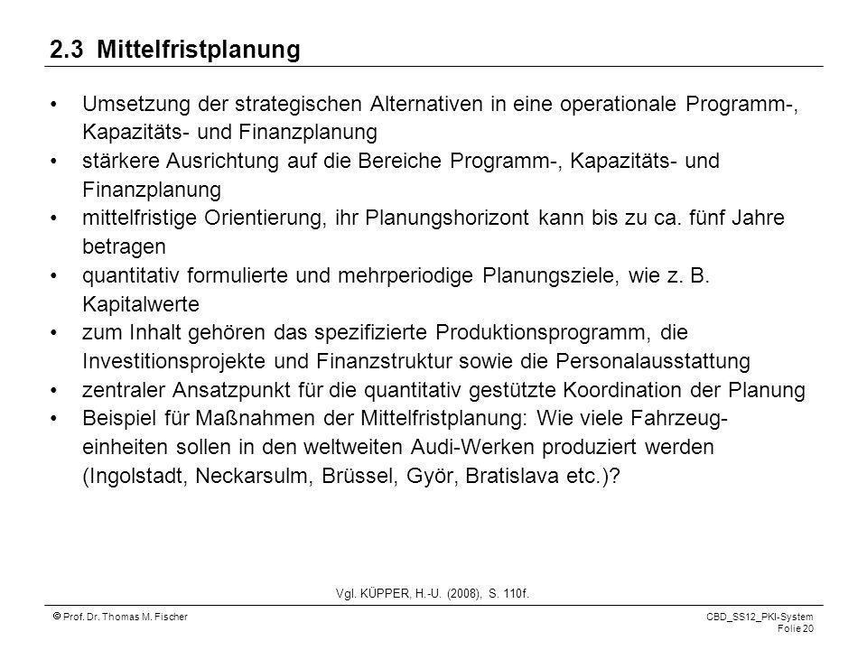Prof. Dr. Thomas M. Fischer CBD_SS12_PKI-System Folie 20 2.3 Mittelfristplanung Umsetzung der strategischen Alternativen in eine operationale Programm