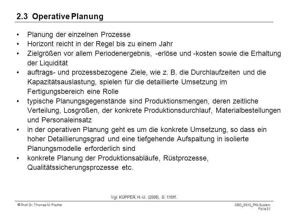 Prof. Dr. Thomas M. Fischer CBD_SS12_PKI-System Folie 21 2.3 Operative Planung Planung der einzelnen Prozesse Horizont reicht in der Regel bis zu eine