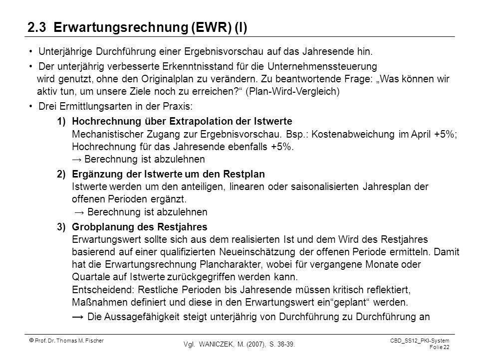 Prof. Dr. Thomas M. Fischer CBD_SS12_PKI-System Folie 22 2.3 Erwartungsrechnung (EWR) (I) Unterjährige Durchführung einer Ergebnisvorschau auf das Jah