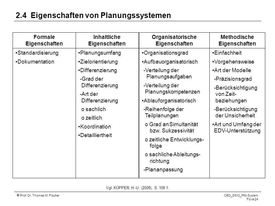 Prof. Dr. Thomas M. Fischer CBD_SS12_PKI-System Folie 24 Vgl. KÜPPER, H.-U. (2008), S. 108 f. Formale Eigenschaften Inhaltliche Eigenschaften Organisa