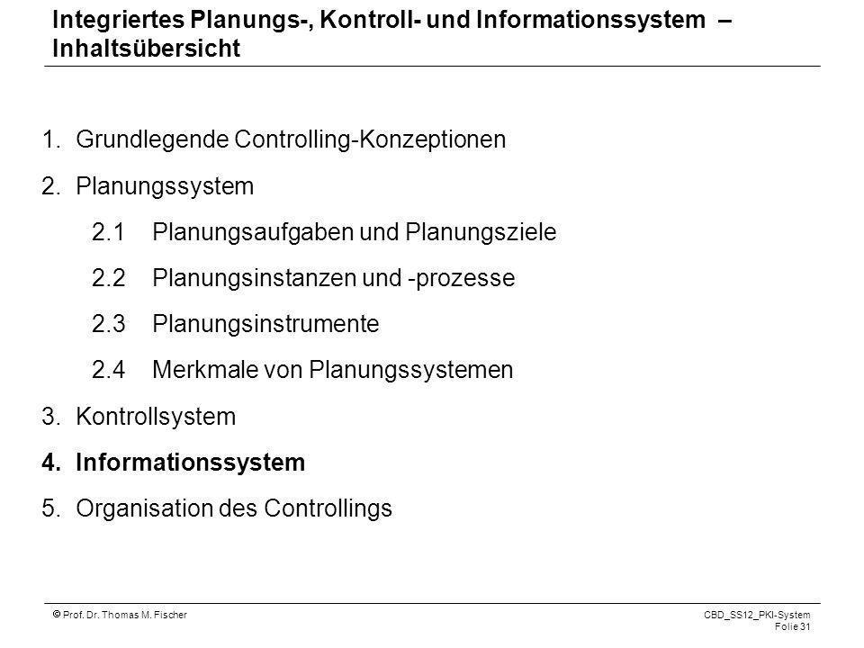 Prof. Dr. Thomas M. Fischer CBD_SS12_PKI-System Folie 31 1.Grundlegende Controlling-Konzeptionen 2.Planungssystem 2.1 Planungsaufgaben und Planungszie