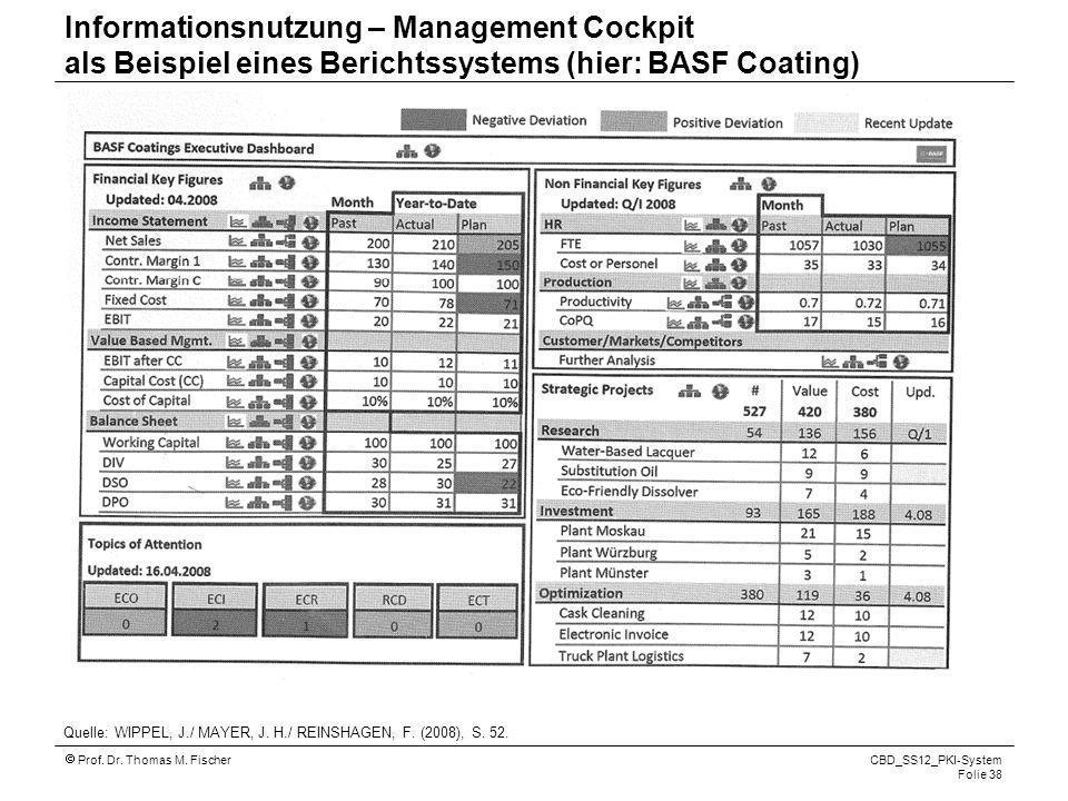 Prof. Dr. Thomas M. Fischer CBD_SS12_PKI-System Folie 38 Informationsnutzung – Management Cockpit als Beispiel eines Berichtssystems (hier: BASF Coati
