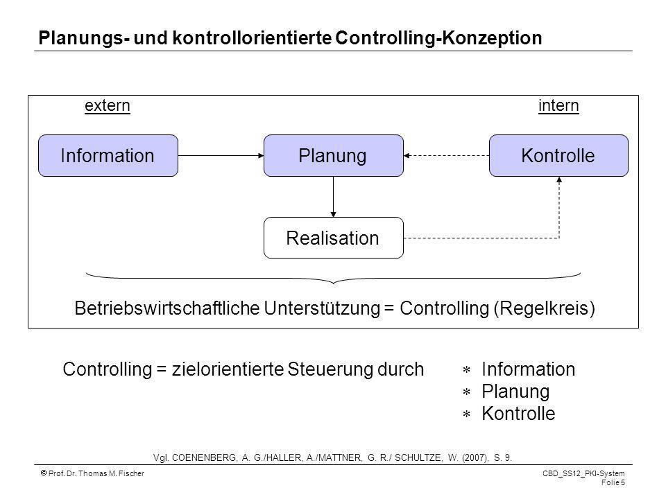 Prof. Dr. Thomas M. Fischer CBD_SS12_PKI-System Folie 5 Controlling = zielorientierte Steuerung durch Information Planung Kontrolle Betriebswirtschaft