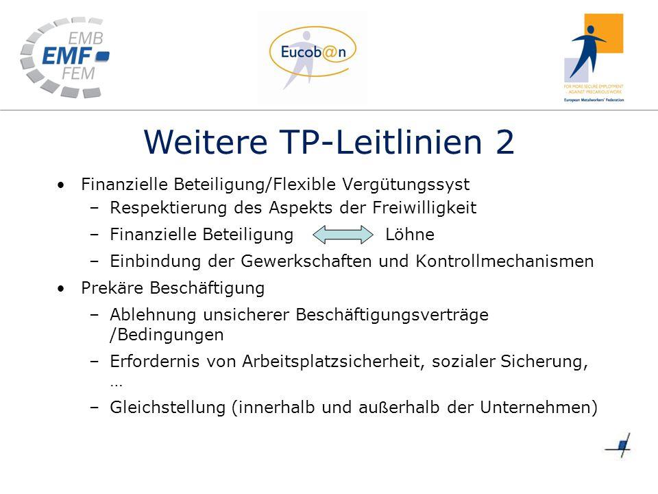 Weitere TP-Leitlinien 2 Finanzielle Beteiligung/Flexible Vergütungssyst –Respektierung des Aspekts der Freiwilligkeit –Finanzielle BeteiligungLöhne –E