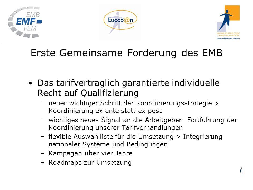 Erste Gemeinsame Forderung des EMB Das tarifvertraglich garantierte individuelle Recht auf Qualifizierung –neuer wichtiger Schritt der Koordinierungss