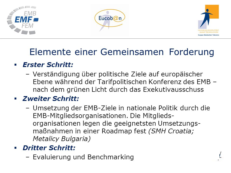 Elemente einer Gemeinsamen Forderung common demand Erster Schritt: –Verständigung über politische Ziele auf europäischer Ebene während der Tarifpolitischen Konferenz des EMB – nach dem grünen Licht durch das Exekutivausschuss Zweiter Schritt: –Umsetzung der EMB-Ziele in nationale Politik durch die EMB-Mitgliedsorganisationen.