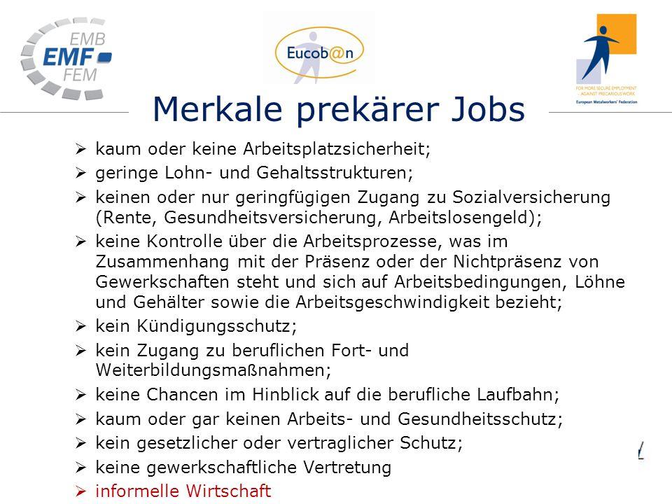 Merkale prekärer Jobs kaum oder keine Arbeitsplatzsicherheit; geringe Lohn- und Gehaltsstrukturen; keinen oder nur geringfügigen Zugang zu Sozialversi