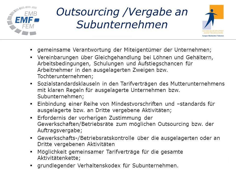 Outsourcing /Vergabe an Subunternehmen gemeinsame Verantwortung der Miteigentümer der Unternehmen; Vereinbarungen über Gleichgehandlung bei Löhnen und Gehältern, Arbeitsbedingungen, Schulungen und Aufstiegschancen für Arbeitnehmer in den ausgelagerten Zweigen bzw.