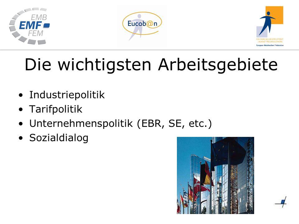 Die wichtigsten Arbeitsgebiete Industriepolitik Tarifpolitik Unternehmenspolitik (EBR, SE, etc.) Sozialdialog