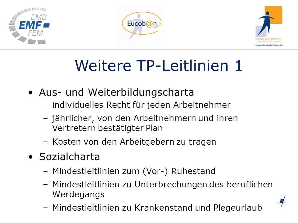 Weitere TP-Leitlinien 1 Aus- und Weiterbildungscharta –individuelles Recht für jeden Arbeitnehmer –jährlicher, von den Arbeitnehmern und ihren Vertret