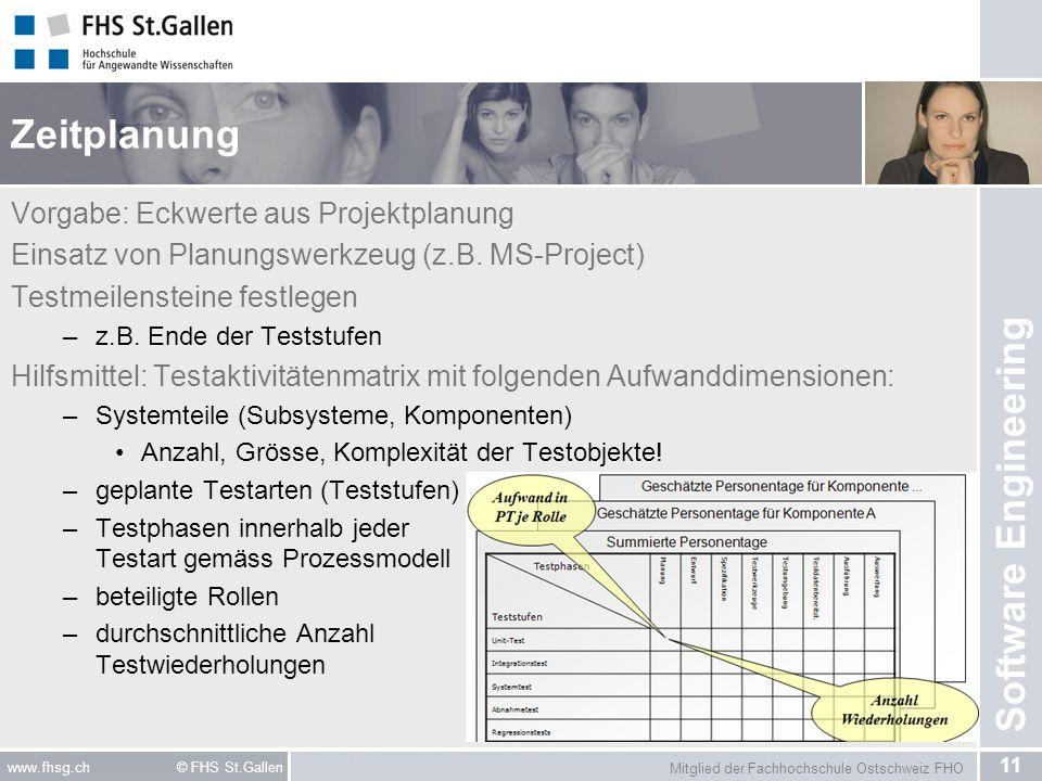 Mitglied der Fachhochschule Ostschweiz FHO 11 www.fhsg.ch © FHS St.Gallen Software Engineering Zeitplanung Vorgabe: Eckwerte aus Projektplanung Einsatz von Planungswerkzeug (z.B.